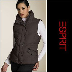 ESPRIT Down Feather Vest in Chocolate
